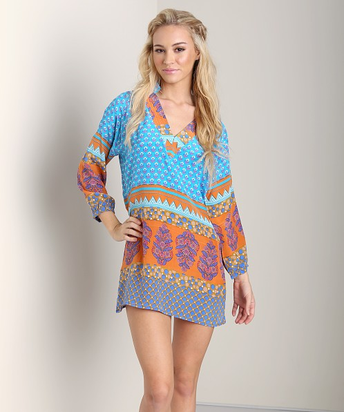 Tolani Chandra Tunic Turquoise Orange