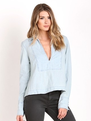 Model in rumi wash Free People Ready or Not Chambray Top