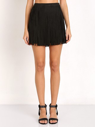 BB Dakota Barton Faux Black Suede Fringe Skirt