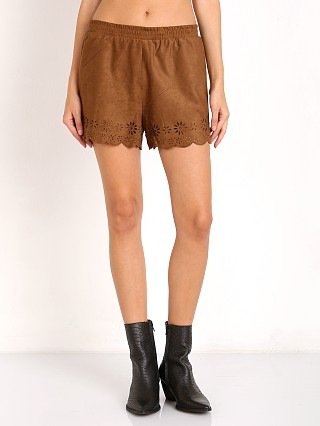 Model in antelope BB Dakota Phillis Laser Cut Faux  Suede Short