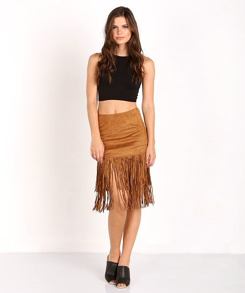 Wyldr Shimmy Shake Suede Skirt Brown