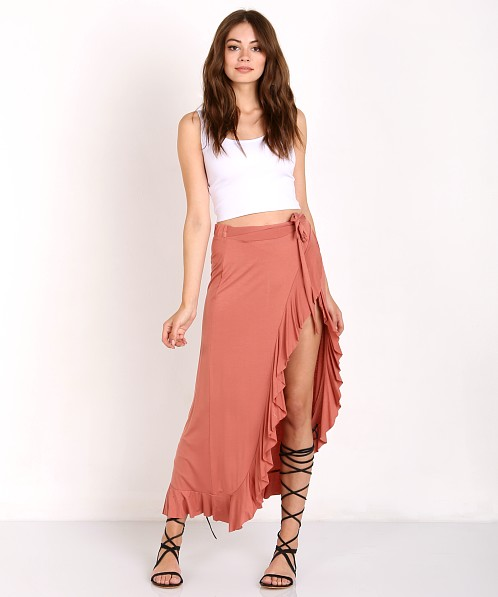 060ede3316 Somedays Lovin Ammu Midi Wrap Skirt Rust IW16S1031 - Free Shipping at Largo  Drive