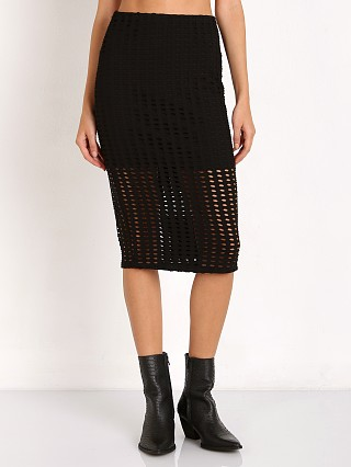 Kendall + Kylie Laser Cut Skirt Black