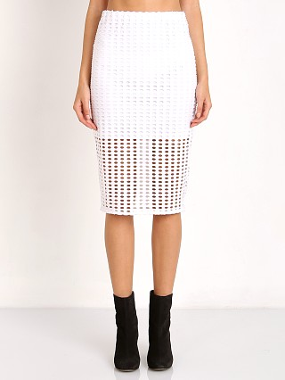 Kendall + Kylie Laser Cut Skirt Bright White