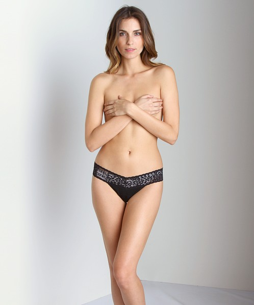 Hanky Panky Logo To Go Low Rise Thong Black