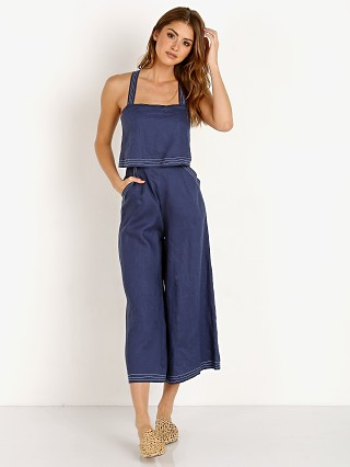 Model in navy Suboo Nautico Cropped Jumpsuit