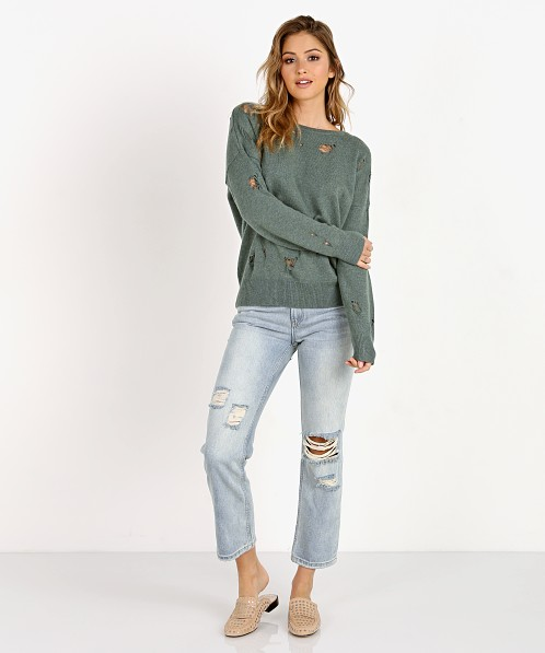 LNA Clothing Carlton Distressed Merino Wool Sweater