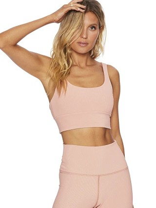 Beach Riot Leah Sports Bra Top Pink Rib
