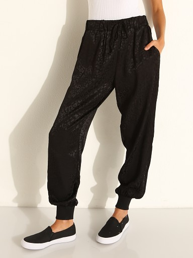 Model in black leopard LNA Clothing Jacquard Drawstring Pant