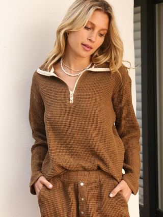 Model in coco DONNI. Waffle 1/2 Zip Pullover