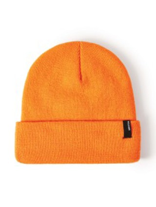 Model in athletic orange Brixton Harbor Watch Beanie