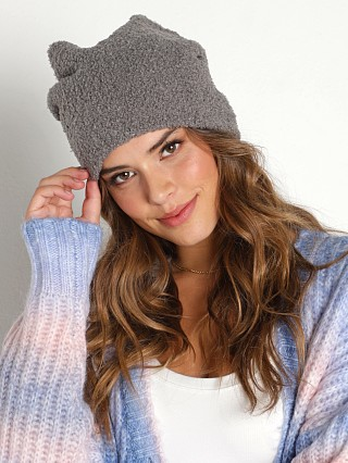 Model in grey DONNI. Sherpa Beanie  w/ Pearl