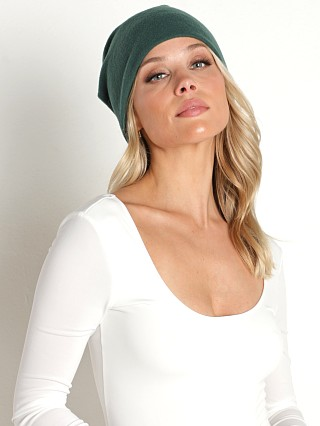 Model in hunter DONNI. Sweater Beanie  w/ Pearl