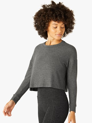 Model in heather grey Beyond Yoga Luxe Lounger Cropped Pullover