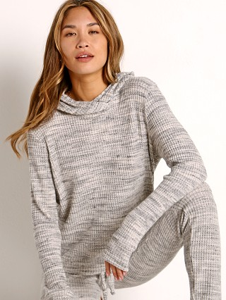Model in cream Beyond Yoga Waffle Knit Sweater with Hoodie