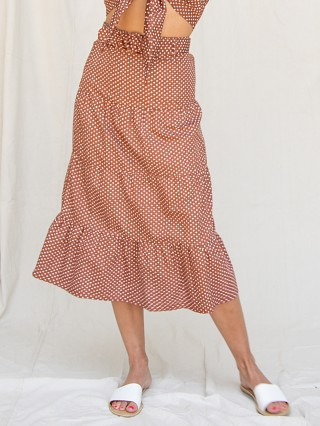 Model in bonnie dot Faithfull the Brand Farida Midi Skirt