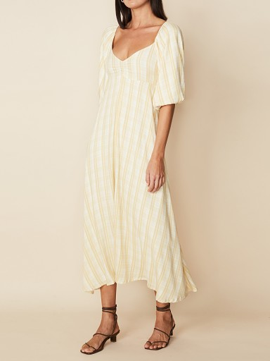 Model in hamptons check Faithfull the Brand Imanie Midi Dress