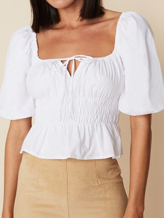 Model in plain white Faithfull the Brand Venetia Top