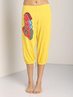 WILDFOX Crop Morning Sweats Luv Bottoms Sunflower