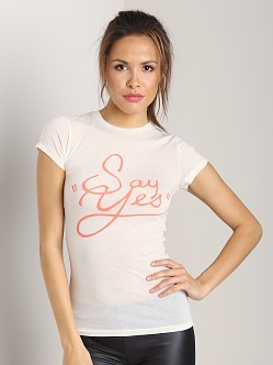 WILDFOX Skinny Tee Jaclyn's Say Yes Vintage White
