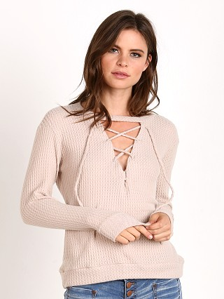 LNA Clothing Laced Waffle Sweater Sand
