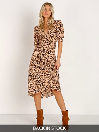 ASTR the Label Cutout Midi Dress Leopard Print