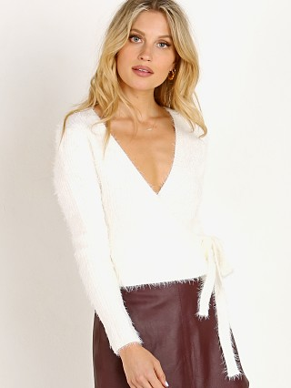 ASTR the Label Wrap Front Fuzzy Sweater Cream