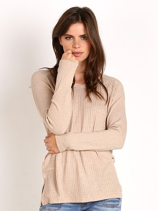 Splendid Waffle Loose Knit U Neck Top Heather Oatmeal