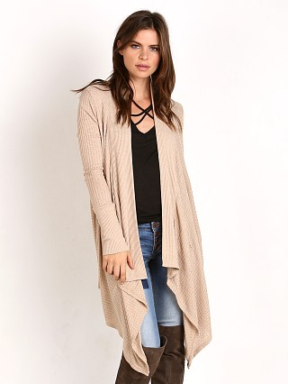 Splendid Waffle Loose Knit Blanket Cardi Heather Oatmeal