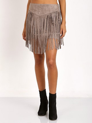Show Me Your Mumu Rancho Fringe Skirt Taupe Suede