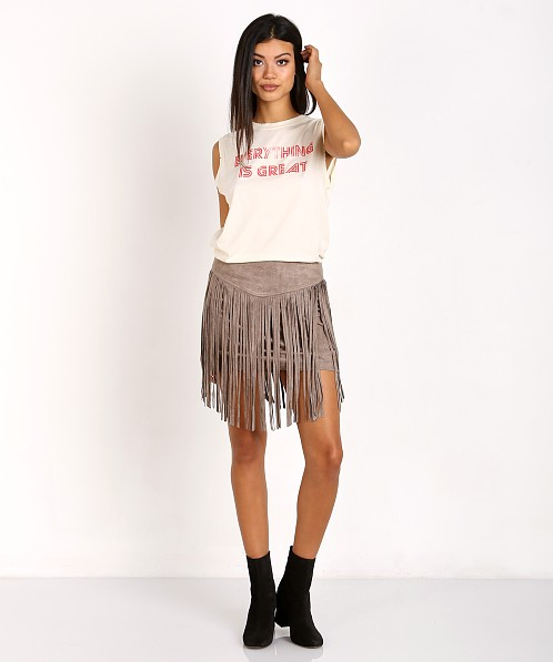 ee0d0c144c Show Me Your Mumu Rancho Fringe Skirt Taupe Suede MF6-340 - Free Shipping  at Largo Drive