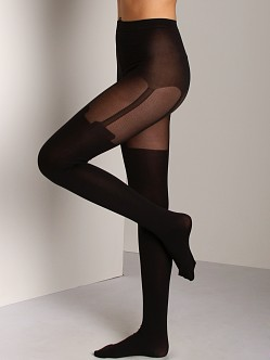 Pretty Polly Tummy Shaper Suspender Tights Black