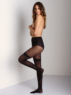 Pretty Polly Lurex Mock Suspender Tights Black