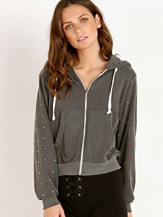 WILDFOX Rainbow Glitz Regan Zip Hood Pigment Black