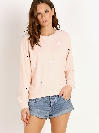 WILDFOX Allover Mod Daisy Jr Sweatshirt Pink Flush