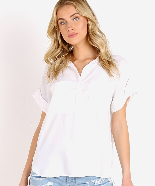 Bella Dahl Rolled Short Sleeve Button Down White