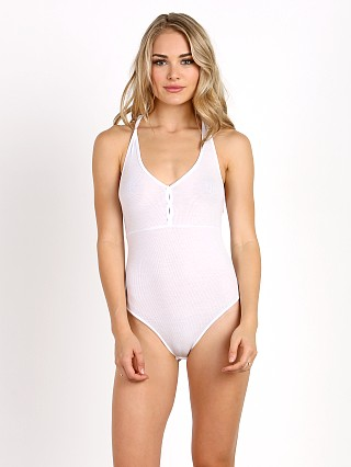 Only Hearts Feather Weight Henley Racer Bodysuit White