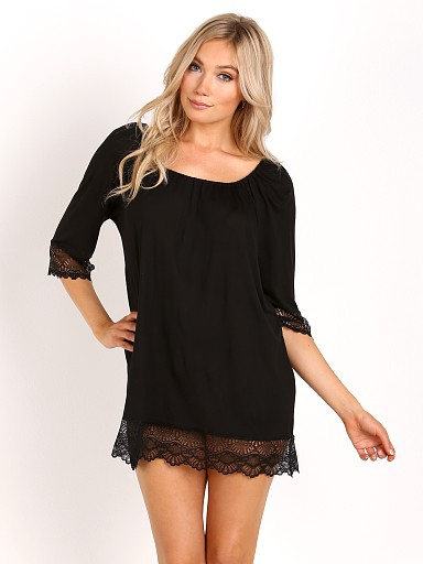 Model in black Only Hearts Venice Night Dress