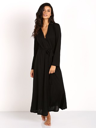 Only Hearts Venice Long Robe With Lace Black