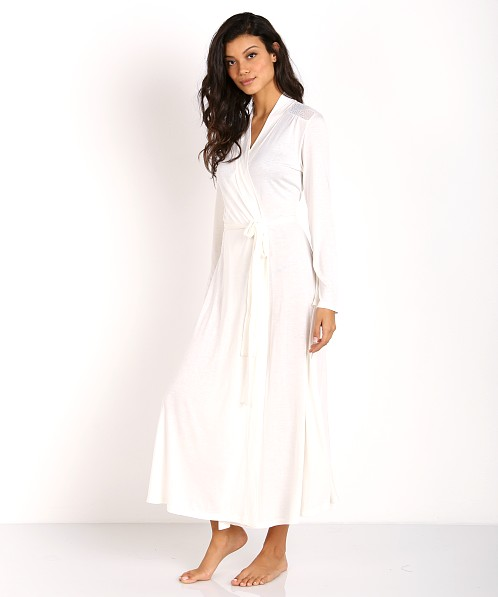 Only Hearts Venice Long Robe With Lace Antique White