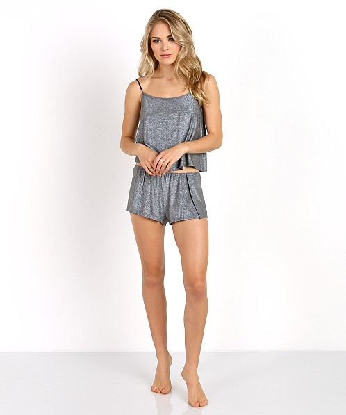 Only Hearts Metallic Shorts Gunmetal