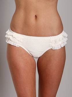 Juicy Couture Prima Donna Ruffle Flirt Bikini Bottom White