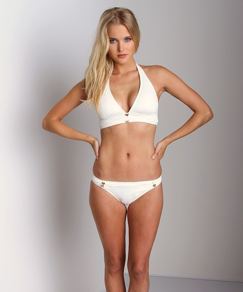 Juicy Couture Miss Devine Button Halter Bikini Top White
