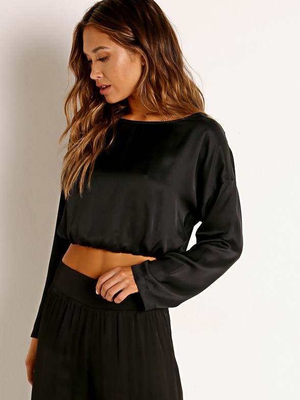 Model in black Stillwater The Abbot Top