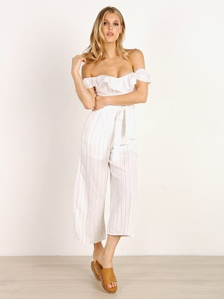 ASTR the Label Keely Jumpsuit White Taupe Stripe