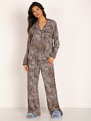 Bella Dahl Long Sleeve Wide Leg Sleep PJ Set Golden Leopard