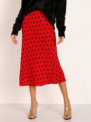 Model in red dot Cleobella Brittany Skirt