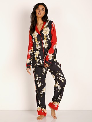 Model in red print Cleobella Venus Silky PJ Set