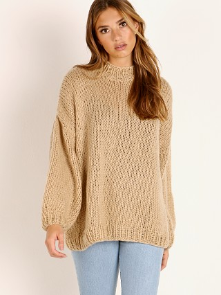 Model in mocha Indah Kea Hand Knitted Fluffy Sweater