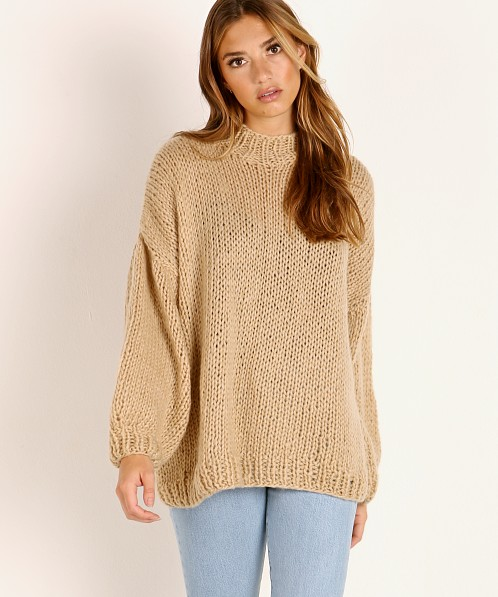 Indah Kea Hand Knitted Fluffy Sweater Mocha